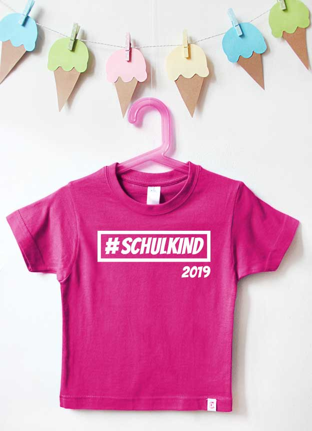 T-Shirt Einschulung | Hashtag Schulkind - pink & weiß