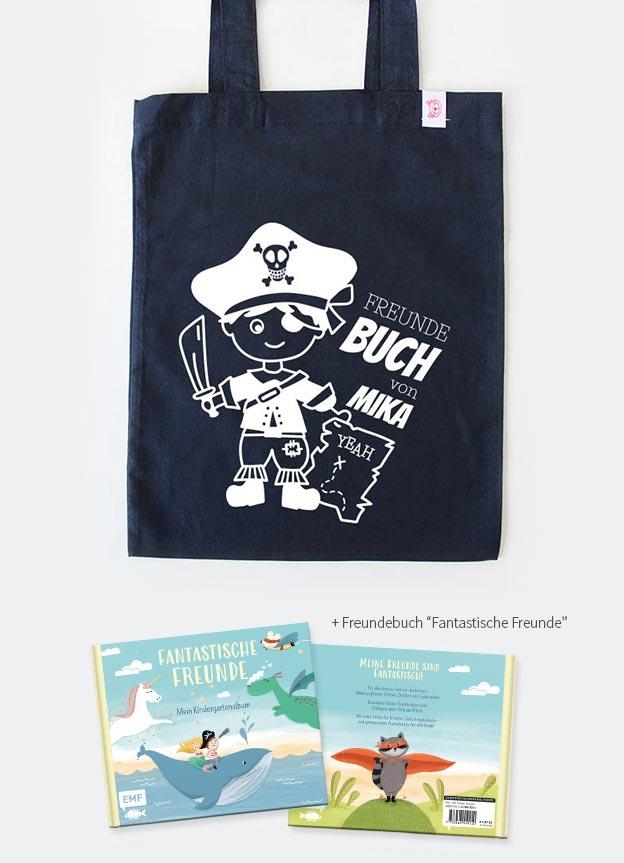 Freundebuch Set | Pirat - dunkelblau & weiß
