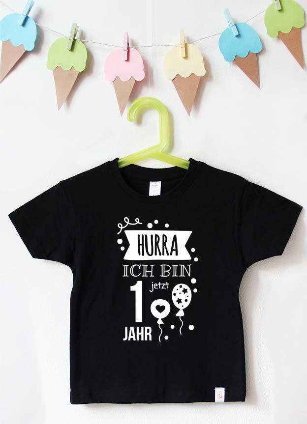 Geburtstagsshirt | Hurra 1 Jahr - schwarz & weiß