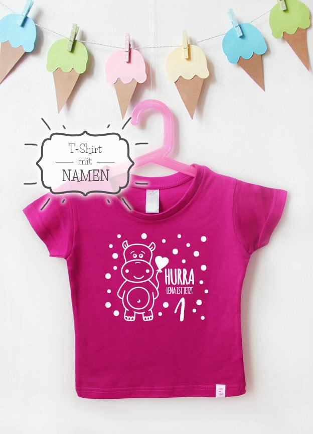 Geburtstagsshirt Namen | Hippo 1 Jahr - pink & weiß
