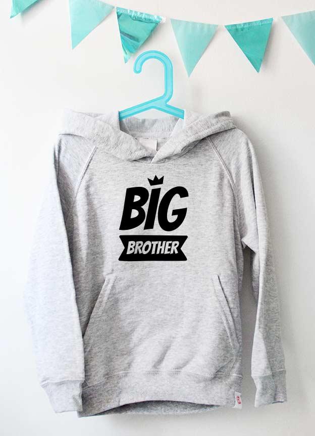 Geschwister Kollektion | Hoodie - Krone big brother - grau & schwarz