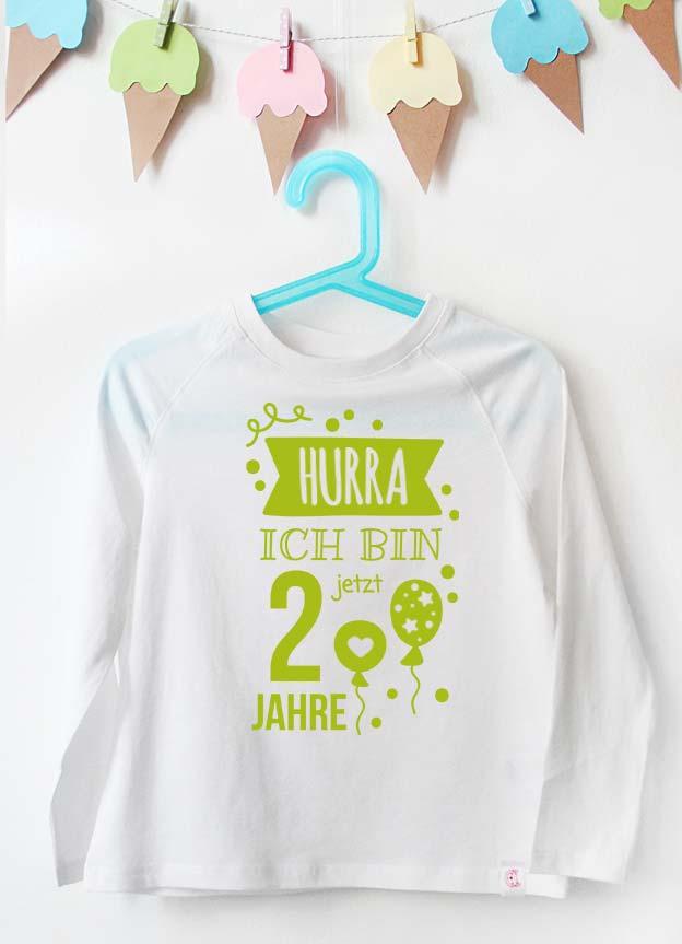 Geburtstag Langarmshirt | Hurra 2 Jahre - weiß & grün