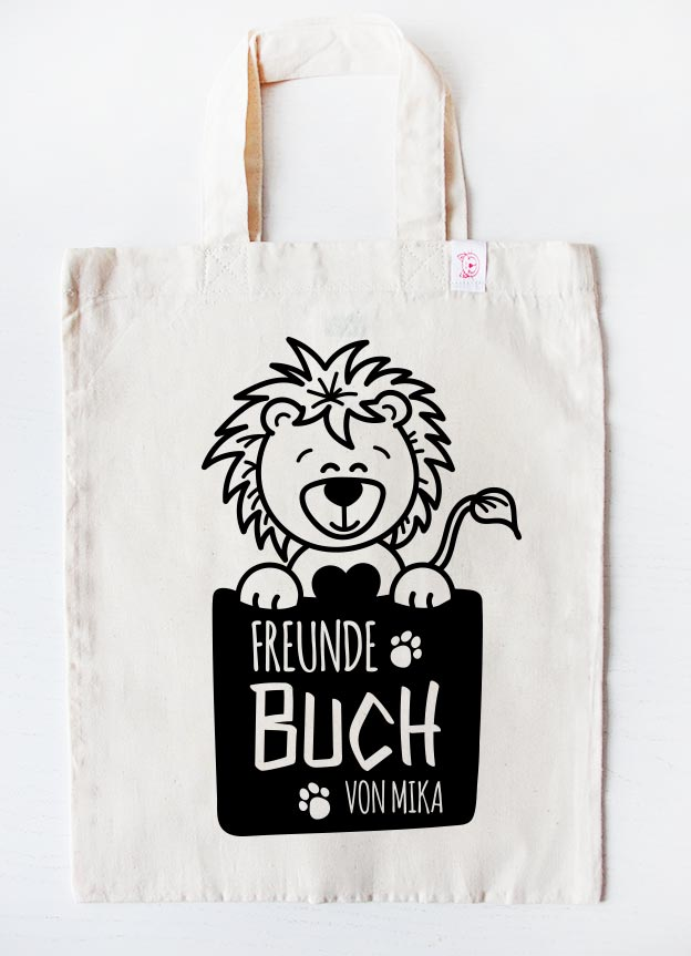 Freundebuch Tasche | Löwe - beige & schwarz