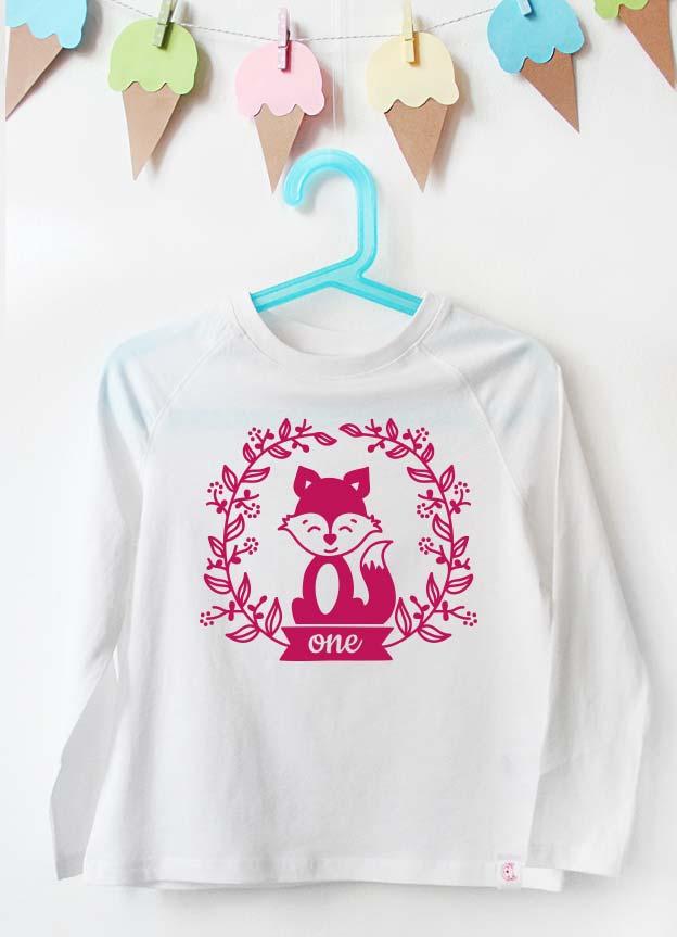 Geburtstag Langarmshirt | Fuchs one  - weiß & pink