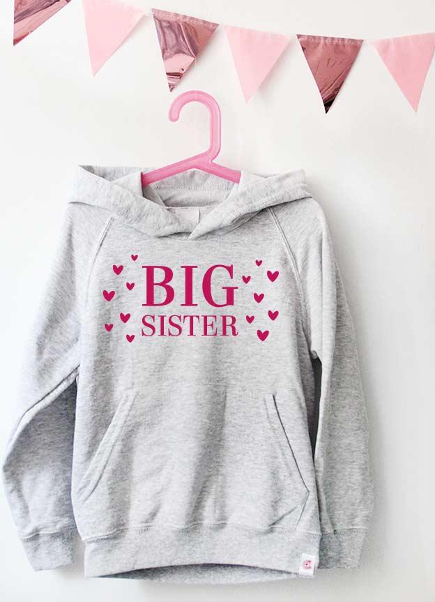 Geschwister Kollektion | Hoodie - Herzen big sister - grau & pink