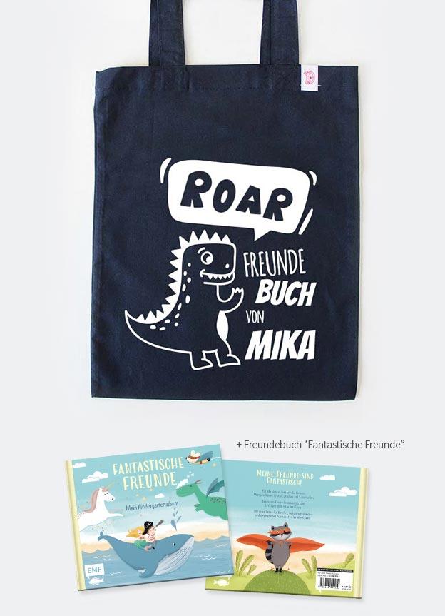 Freundebuch Set | Dino - dunkelblau & weiß