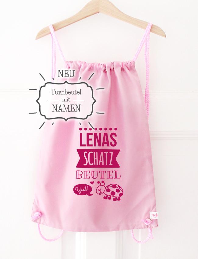Turnbeutel | Schatzbeutel mit Namen - rosa & pink