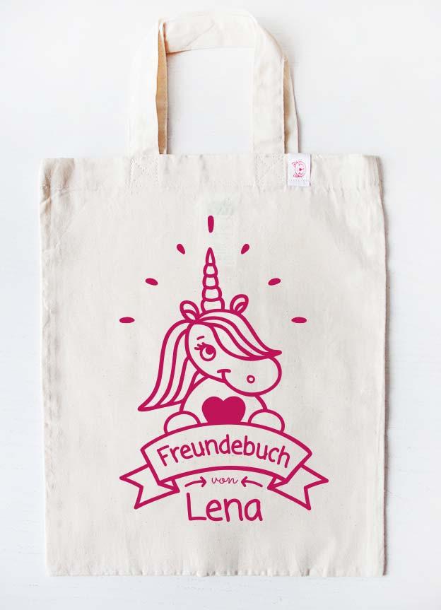 Freundebuch Tasche | Einhorn - beige & pink