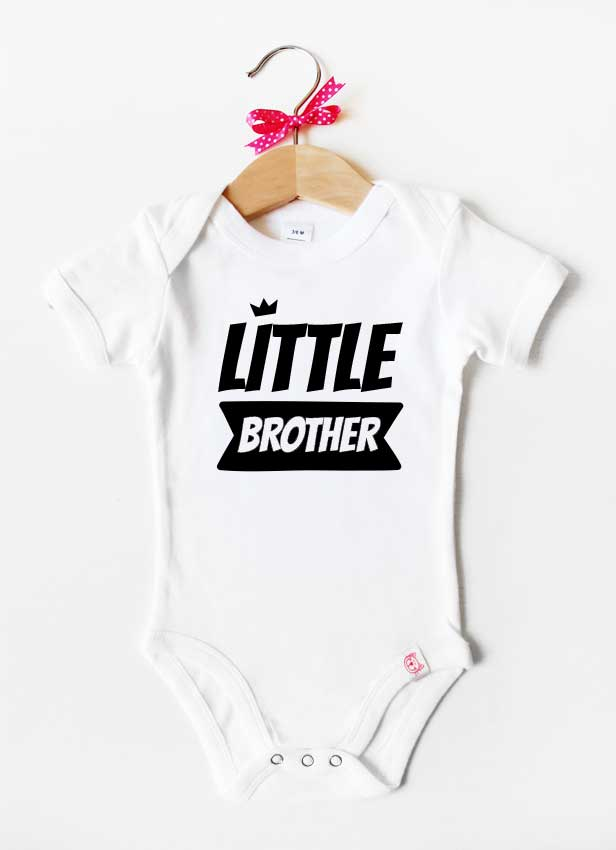 Geschwister Kollektion | Baby Body - Krone little brother - weiß & schwarz