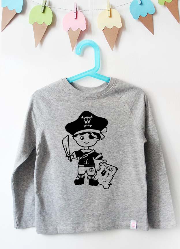 Geburtstag Langarmshirt | Pirat 2 Jahre -  grau & schwarz