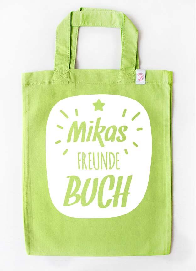 Freundebuch Tasche | Stern - grün & weiß