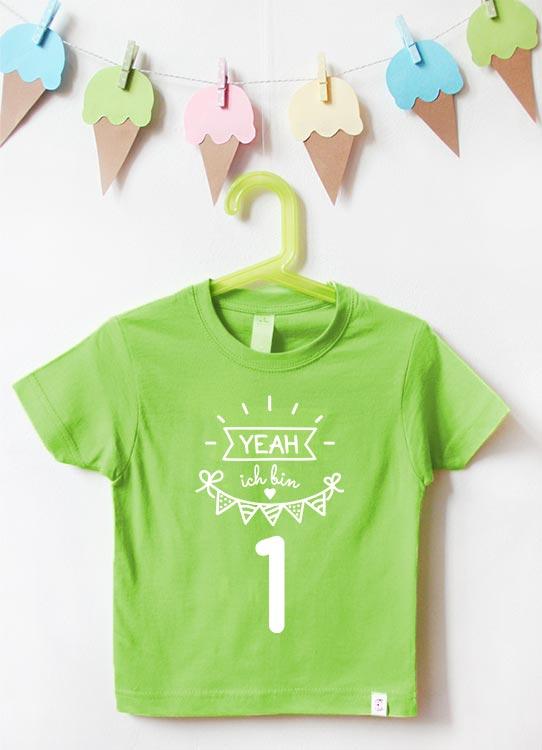 Babyshirt | Yeah 1 Jahr - grün & weiß