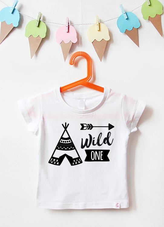 Babyshirt | Wild One Tipi 1 Jahr - weiß & schwarz
