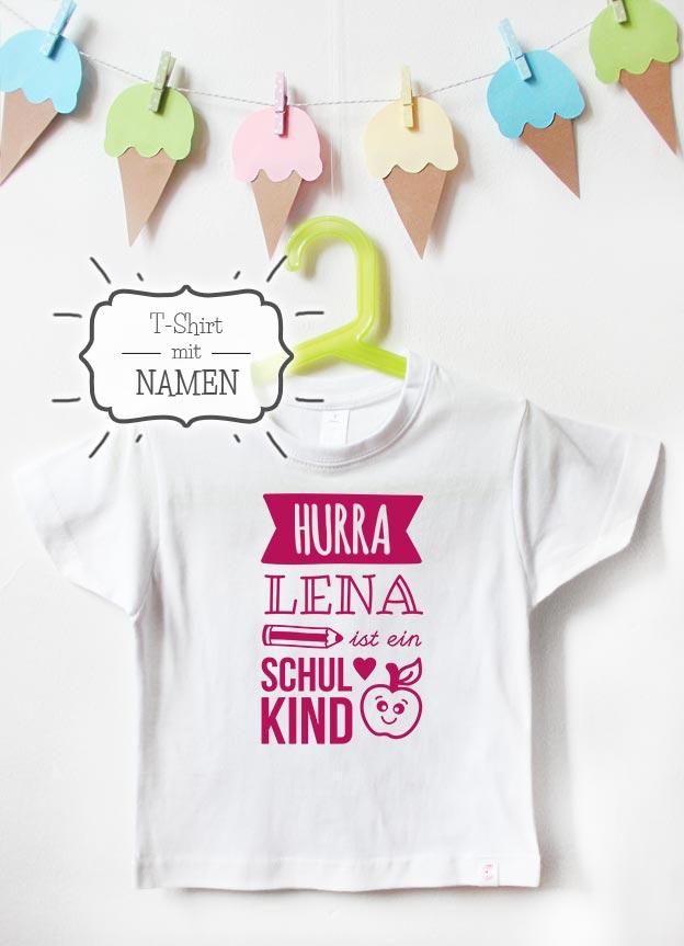 T-Shirt Einschulung Namen   Hurra - weiß & pink