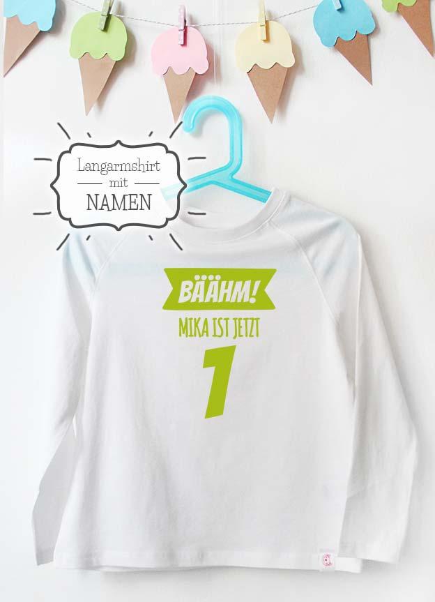 Geburtstag Langarmshirt mit Namen | Bäähm! 1 Jahr - weiß & grün