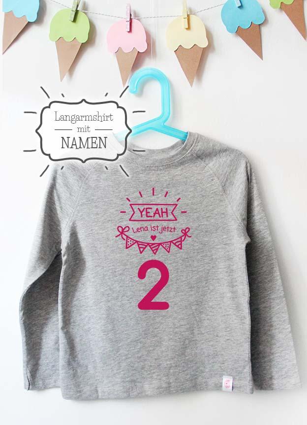 Geburtstag Langarmshirt mit Namen | Yeah 2 Jahre - grau & pink
