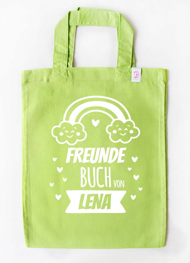 Freundebuch Tasche | Regenbogen - grün & weiß