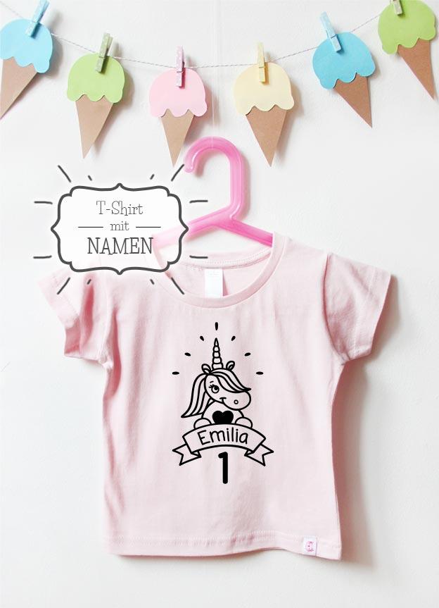 Geburtstagsshirt Namen | Einhorn Hurra 1 Jahr - hellrosa & schwarz