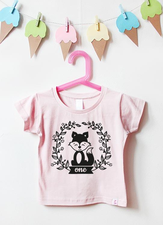 Babyshirt | Fuchs one - hellrosa & schwarz