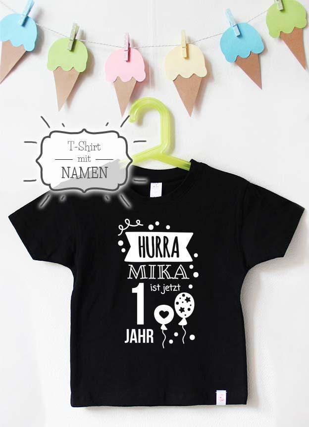 Geburtstagsshirt Namen | Hurra 1 Jahr - schwarz & weiß