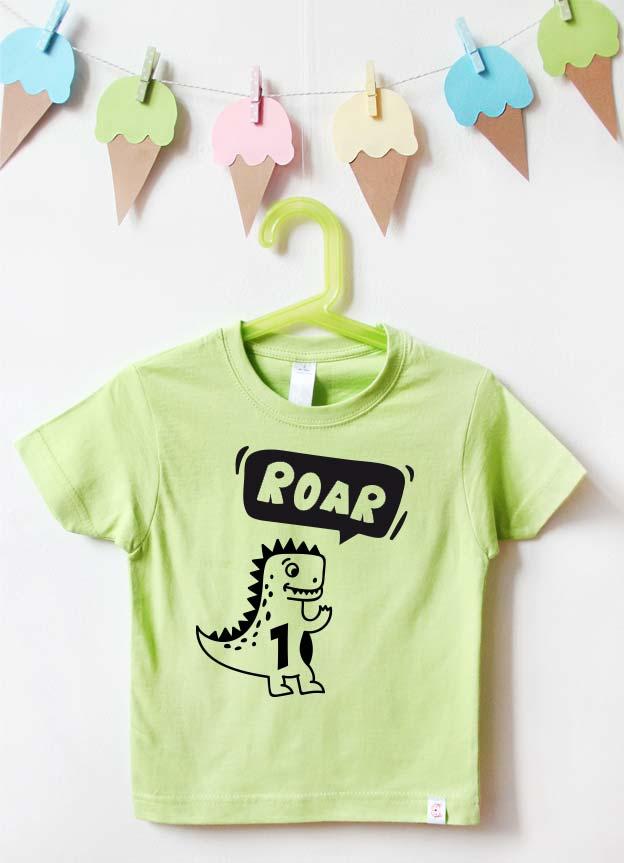 Geburtstagsshirt | Dino - grün & schwarz