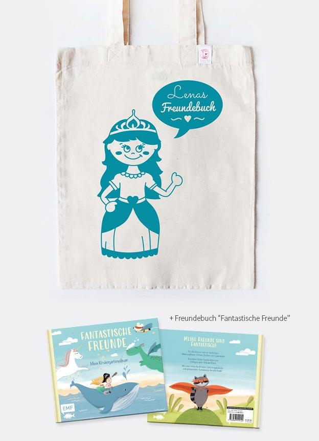 Freundebuch Set | Prinzessin - beige & türkis