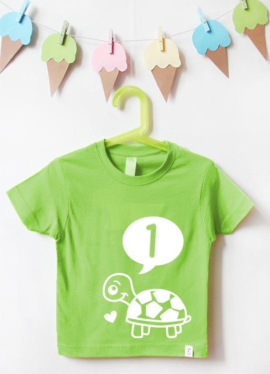 Babyshirt | Schildkröte 1 Jahr - grün & weiß