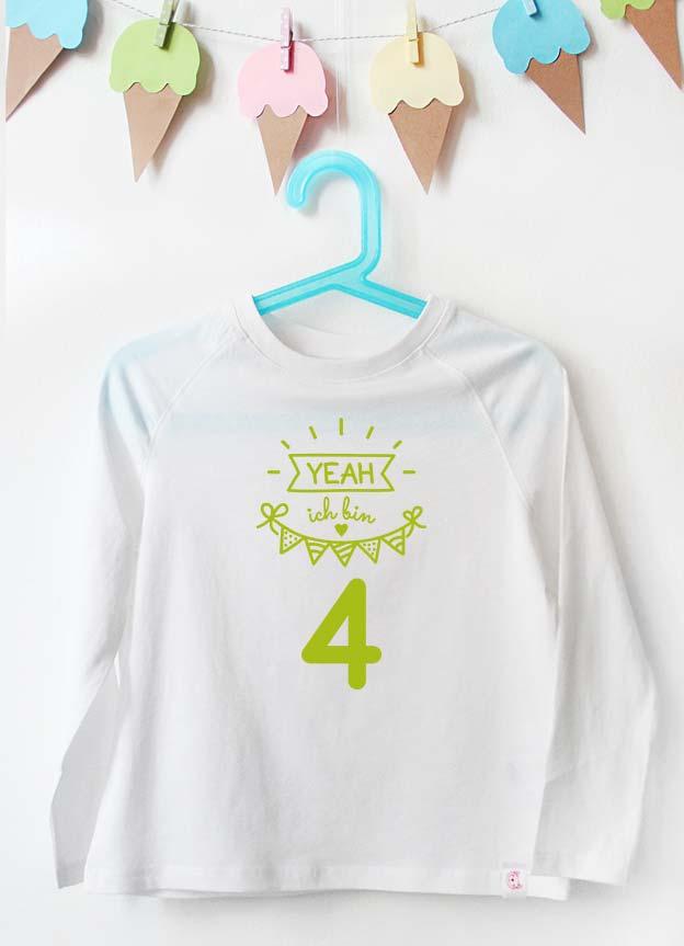 Geburtstag Langarmshirt | Yeah 1 Jahr - weiß & grün