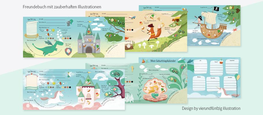 niedliches Freundebuch mit illustrierten Kindermotiven