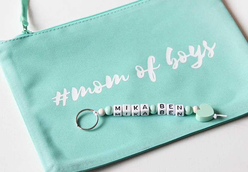 Schlüsselanhänger in Mint zur Geburt - nähfein