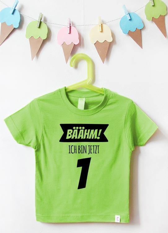 Babyshirt | Bäähm 1 Jahr - grün & schwarz