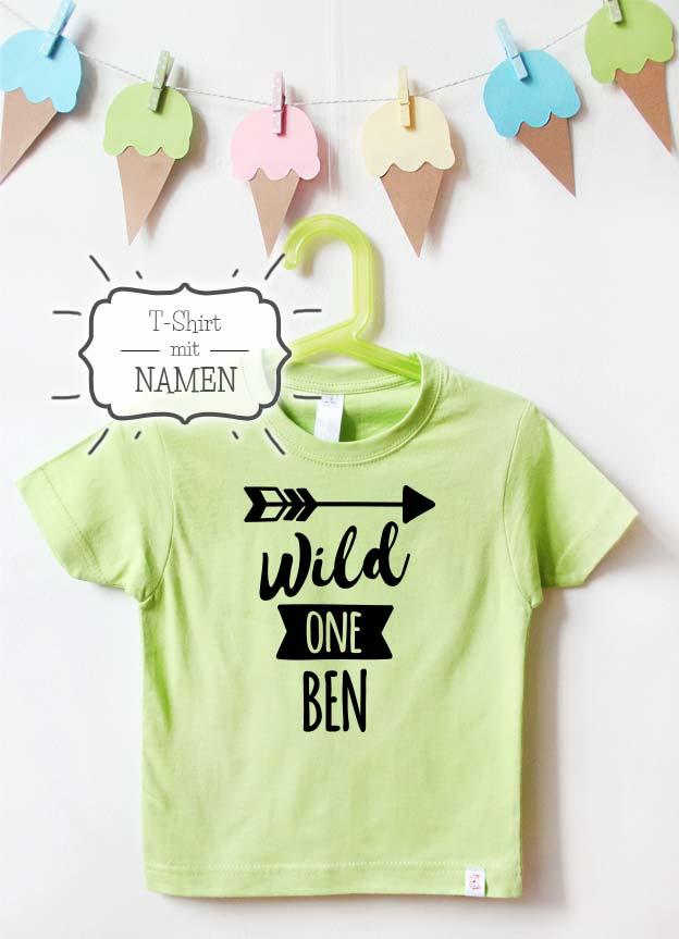 Geburtstagsshirt Namen | Pfeil one - grün & schwarz
