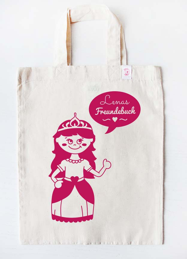 Freundebuch Tasche | Prinzessin - beige & pink