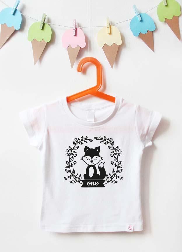 Geburtstagsshirt | Fuchs one - weiß & schwarz