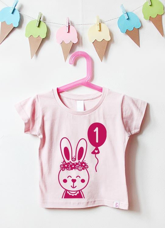 Babyshirt | Hase 1 Jahr - hellrosa & pink
