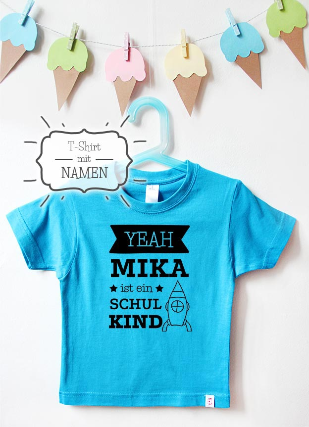 T-Shirt Einschulung mit Namen | Yeah Rakete - türkis & schwarz