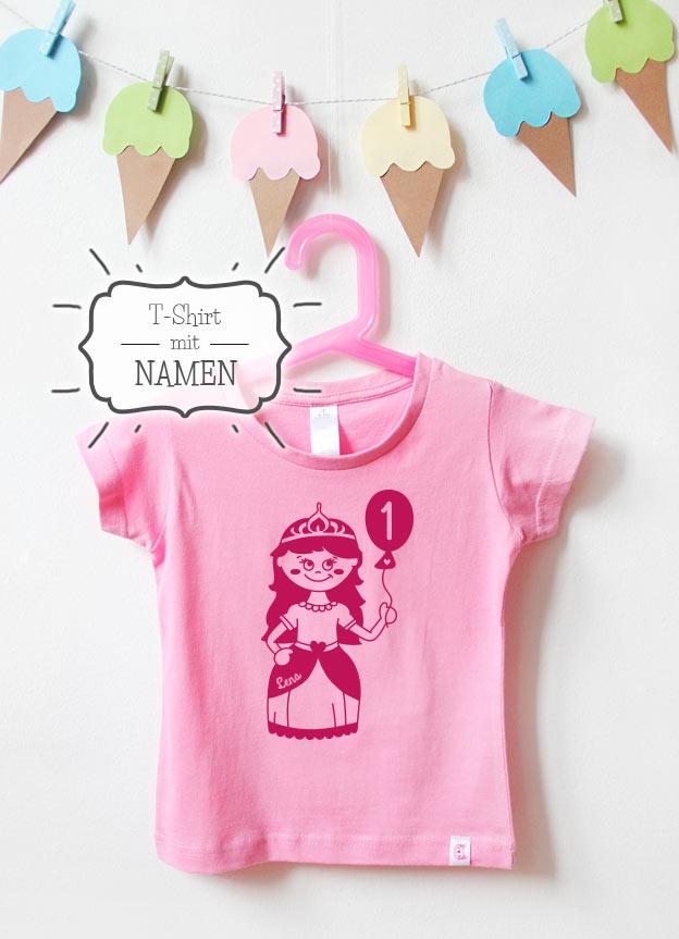 Geburtstagsshirt Namen | Prinzessin 1 Jahr - rosa & pink