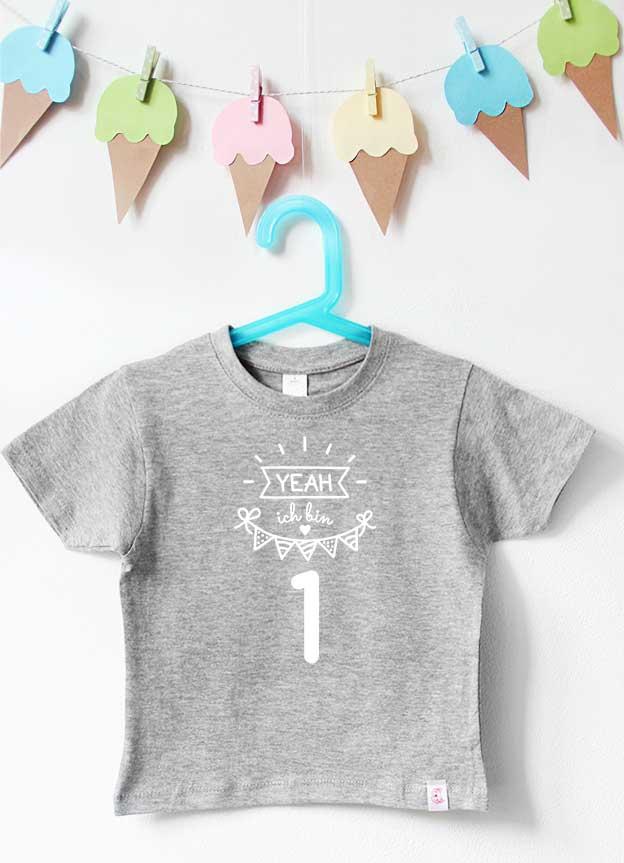 Geburtstagsshirt - Yeah 1 Jahr - grau & weiß
