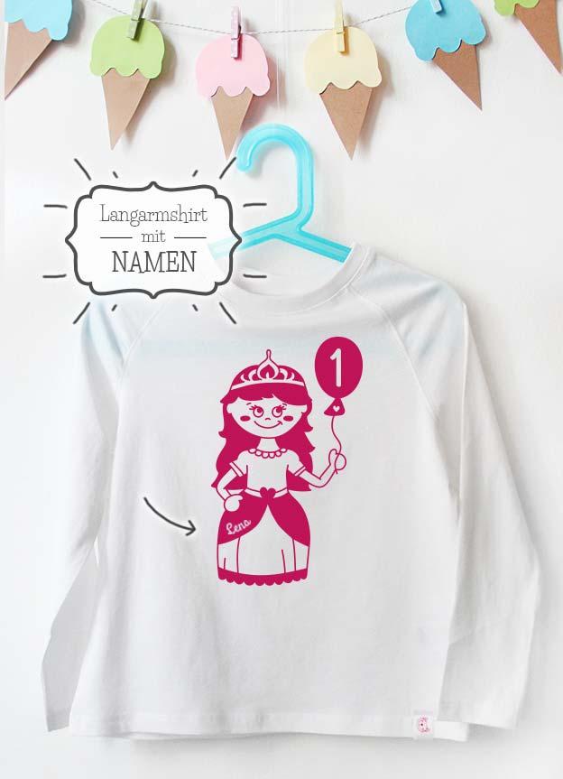 Geburtstag Langarmshirt mit Namen | Prinzessin 1 Jahr - weiß & pink