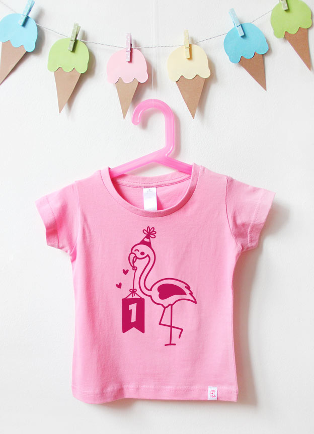 Geburtstagsshirt | Flamingo 1 Jahr - rosa & pink
