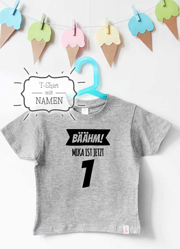 Geburtstagsshirt Namen | Bäähm 1 Jahr - grau & schwarz