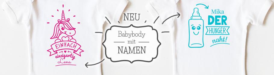 Babybody mit Namen - nähfein