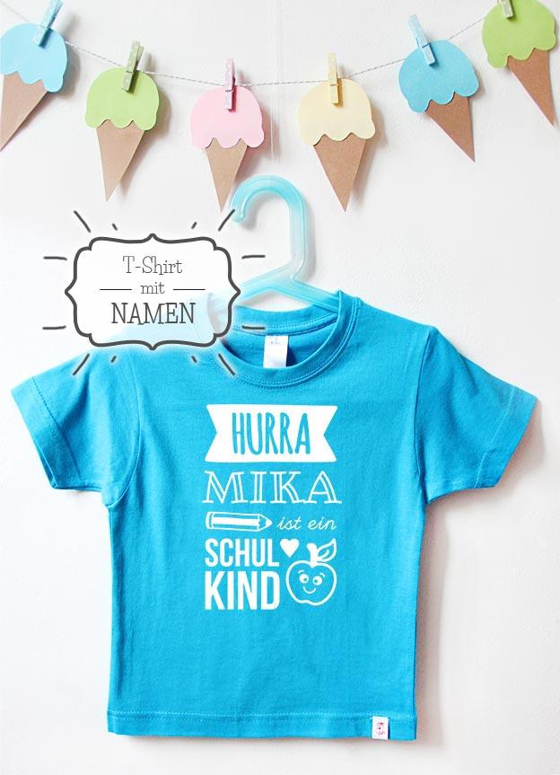 T-Shirt Einschulung mit Namen | Hurra - türkis & weiß