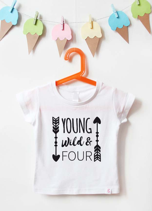 Geburtstagsshirt | young wild & four - weiß & schwarz
