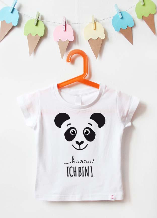 Geburtstagsshirt | Panda 1 Jahr - weiß & schwarz
