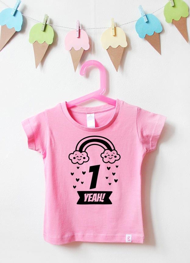 T-Shirt | Regenbogen 1 Jahr  - rosa & schwarz