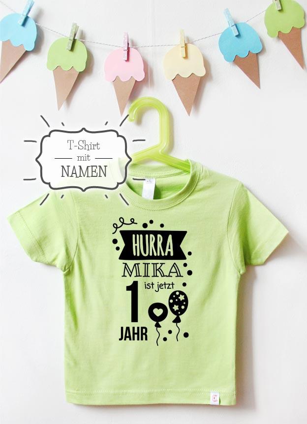 Geburtstagsshirt Namen | Hurra 1 Jahr - grün & schwarz
