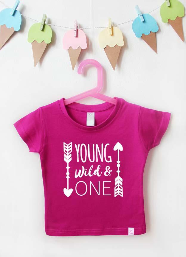 Geburtstagsshirt | young wild & one - pink & weiß
