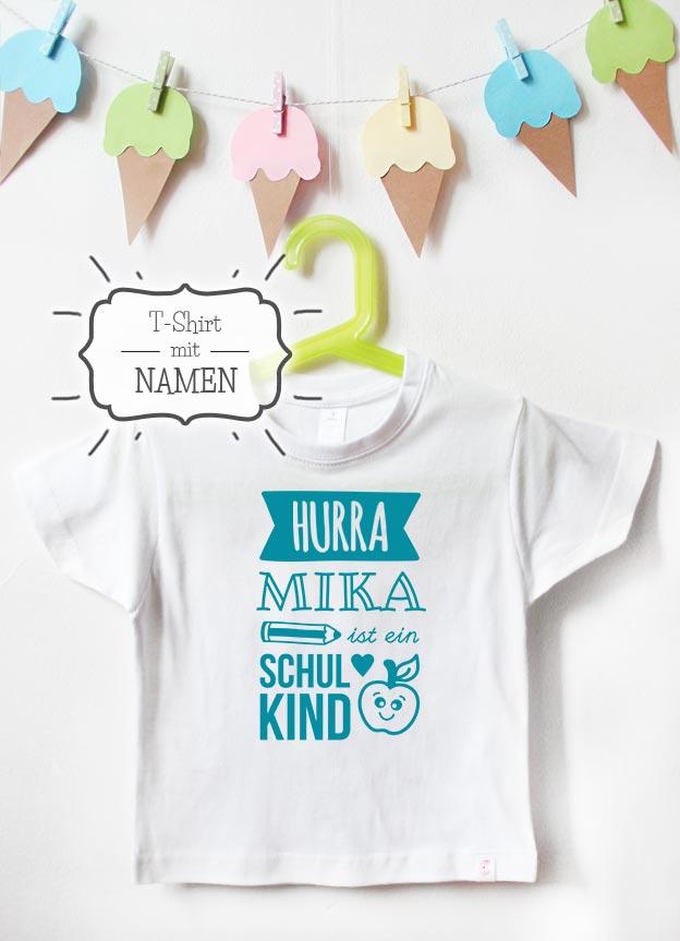 T-Shirt Einschulung mit Namen | Hurra - weiß & türkis