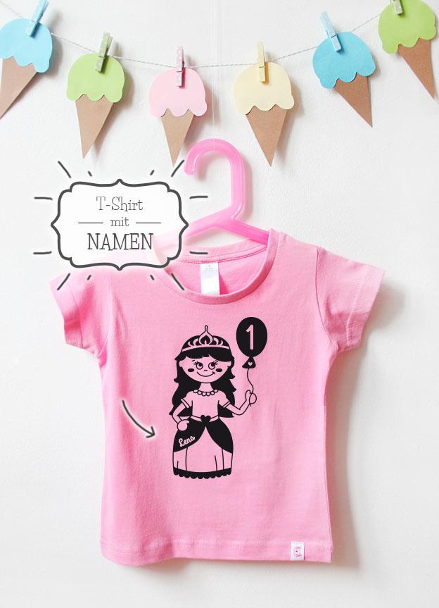 Geburtstagsshirt Namen | Prinzessin 1 Jahr - rosa & schwarz